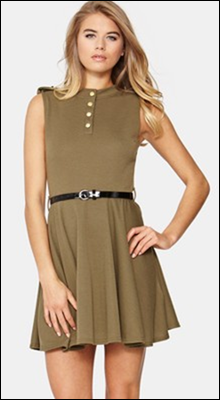 Club L Button Detail Military Skater Dress