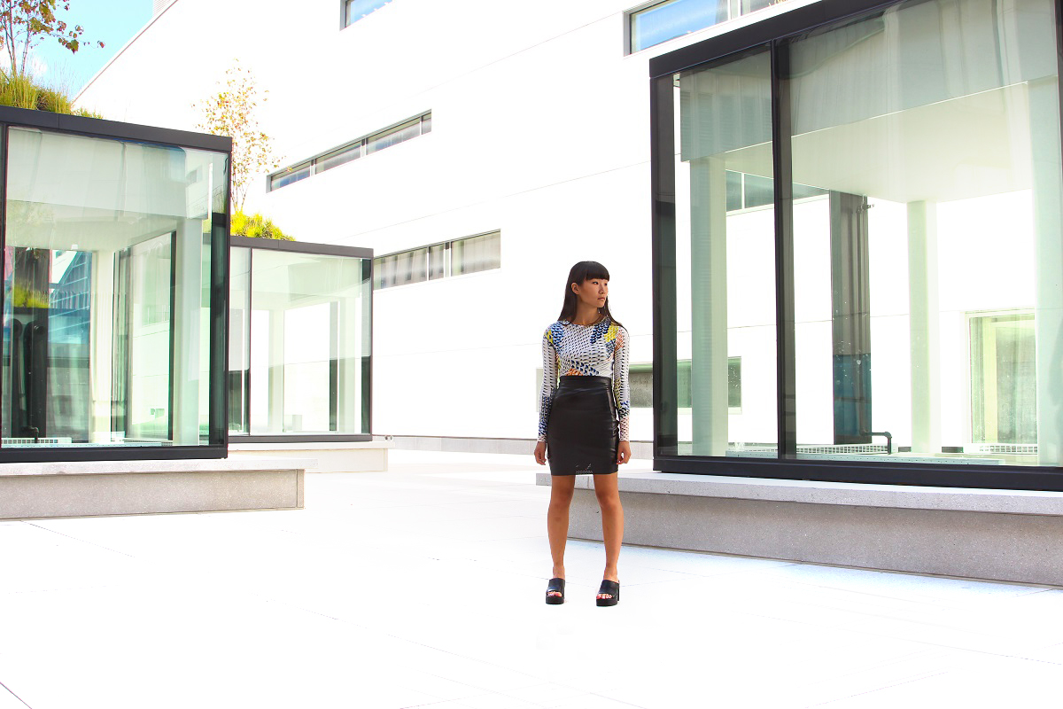 topshop graphic dress and DIY leather pencil skirt 3
