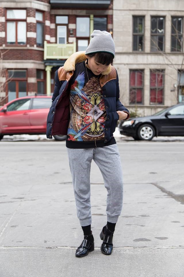 slim sweatpants, Penfield USA Jacket, Topman Graphic Sweatshirt, Roots Canada Slim Sweatpants, Jeffrey Campbell Melina Cutout Booties,Beanie from Little Burgundy